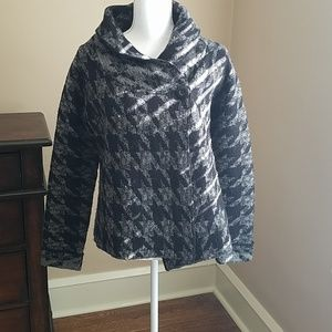 Carole Little black and grey 1 side button sweater